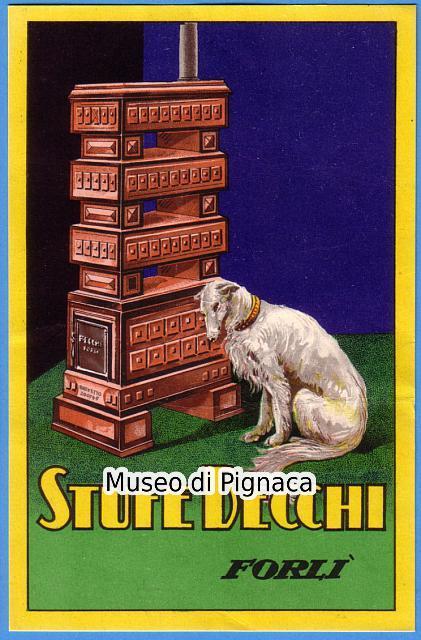 Una pubblicità di un cane affianco alla stufa becchi al museo di pignaca