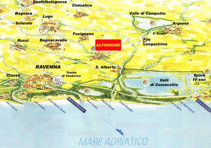 mappa e carta stradale dei comuni limitrofi di Alfonsine