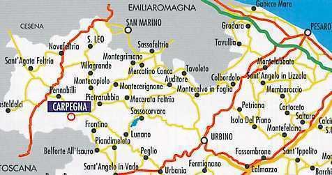 Mappa stradale di Carpegna