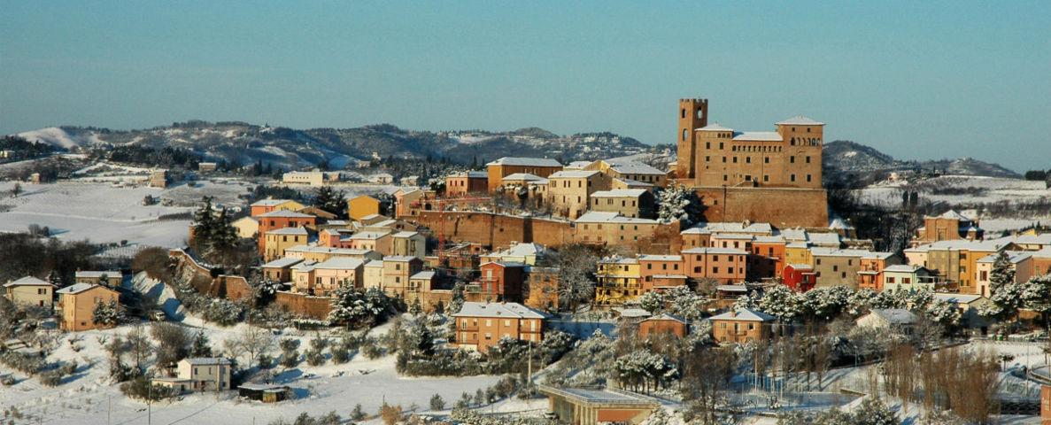 Panorama con la neve di Longiano