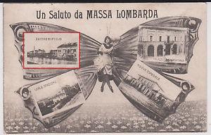 Massa Lombarda in un antica cartolina raffigurate una donna farfalla