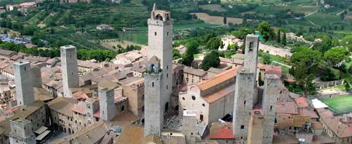 Vista aerea delle torri di San Gimignano