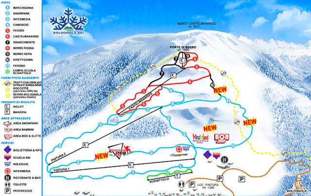 La mappa delle piste da sci di Bolognolo