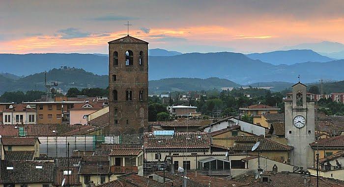 Uno scorcio al tramonto del paese di Borgo San Lorenzo