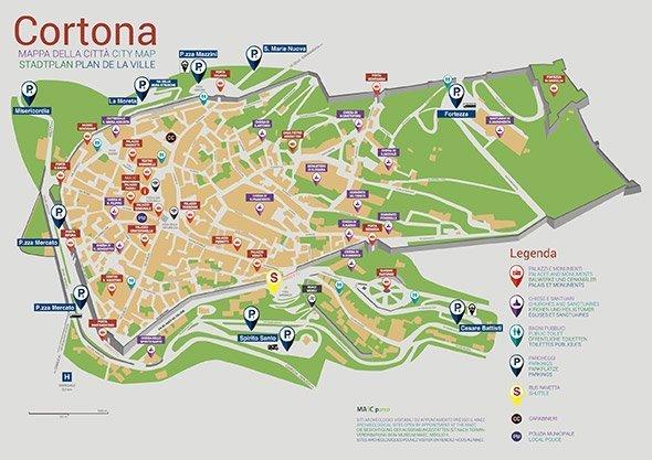La mappa turistica di Cortona