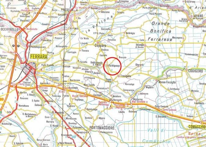 La mappa stradale di Formignana