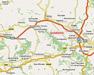 La mappa stradale di Quarrata