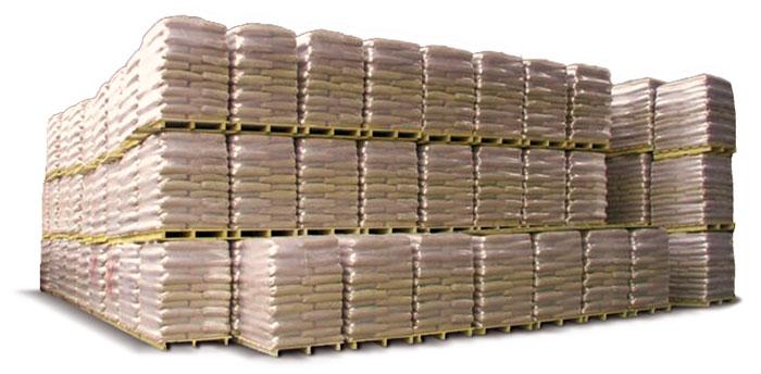 Pellet imballato nei suoi bancali pronto per la consegna agli utilizzatori