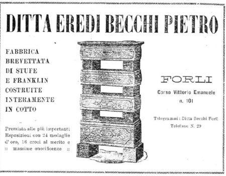 Immagine pubblicitaria d'epoca delle stufe becchi