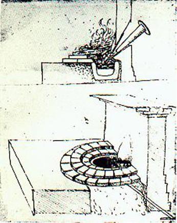 Il disegno fatto da Leonardo da Vinci del caminetto