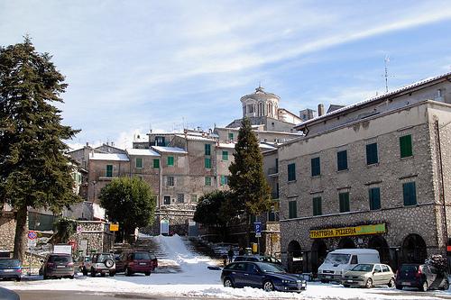 Il borgo con la neve di Capranica Prenestina
