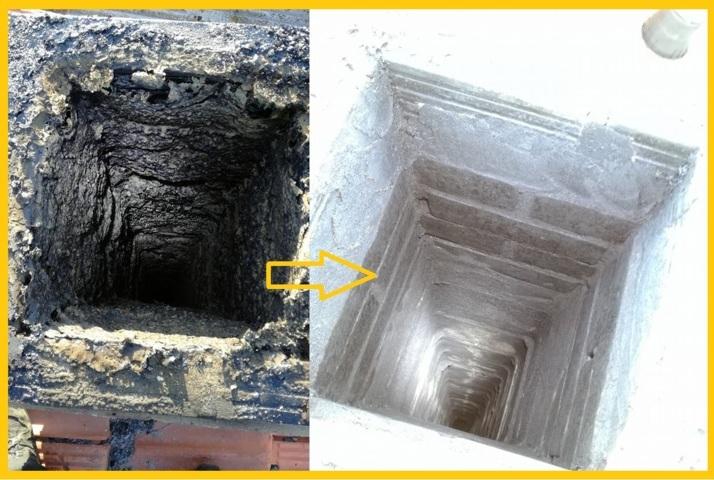 Pulizia della canna fumaria prima e dopo