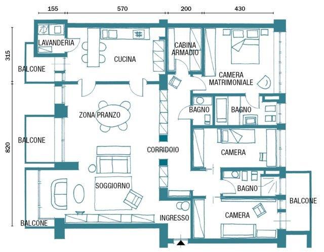 Pianta o planimetria di una casa